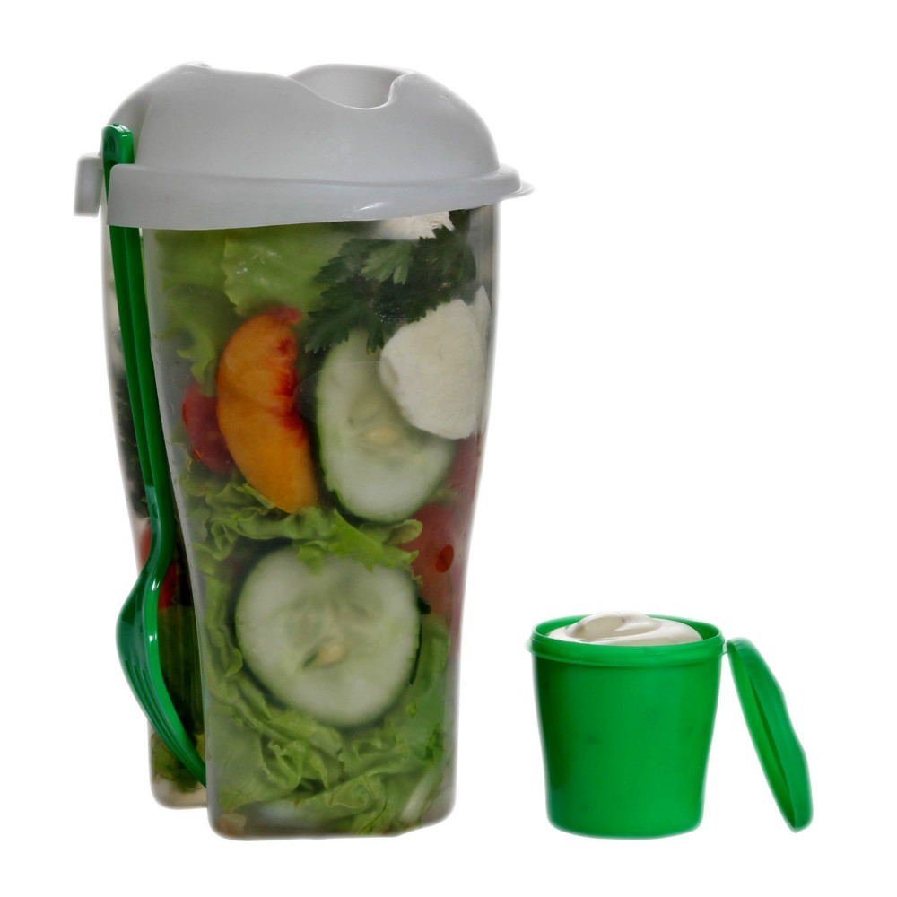 Fresh Salad Container Serving Cup Shaker With Dressing