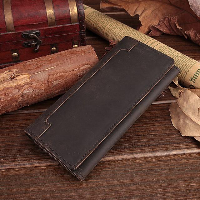 Корова кожаный бумажник глава слой кожи коровы длинный отрезок кожа мужчины бумажник ретро кошелек пакет бумажник карты