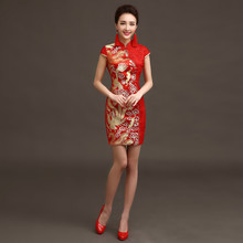 National Chinese Dress Party Dresses Women Phoenix Embroidery Traditional Evening Gown Lace Qipao Pattern Red Bride Traditions