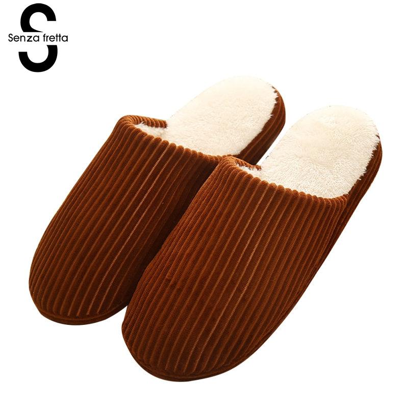 Senza Fretta Winter Men Warm Slippers Couple Soft Velvet Bottom Cotton Slippers Indoor Thick Bottom Soft Slippers Men Warm Shoes фоторамка senza 20х25 см хром 956444