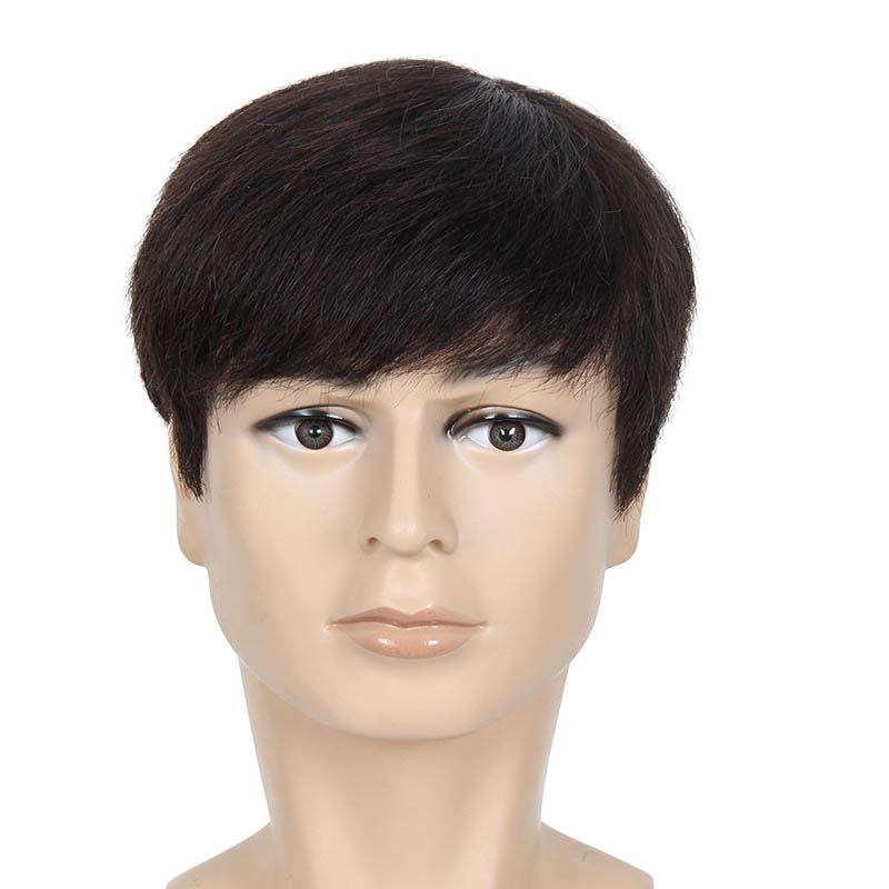 Soloowigs Natural Straight Men Short Wigs High Temperature Fiber Black Full Lace Synthetic Hairpieces for Middle Aged Man