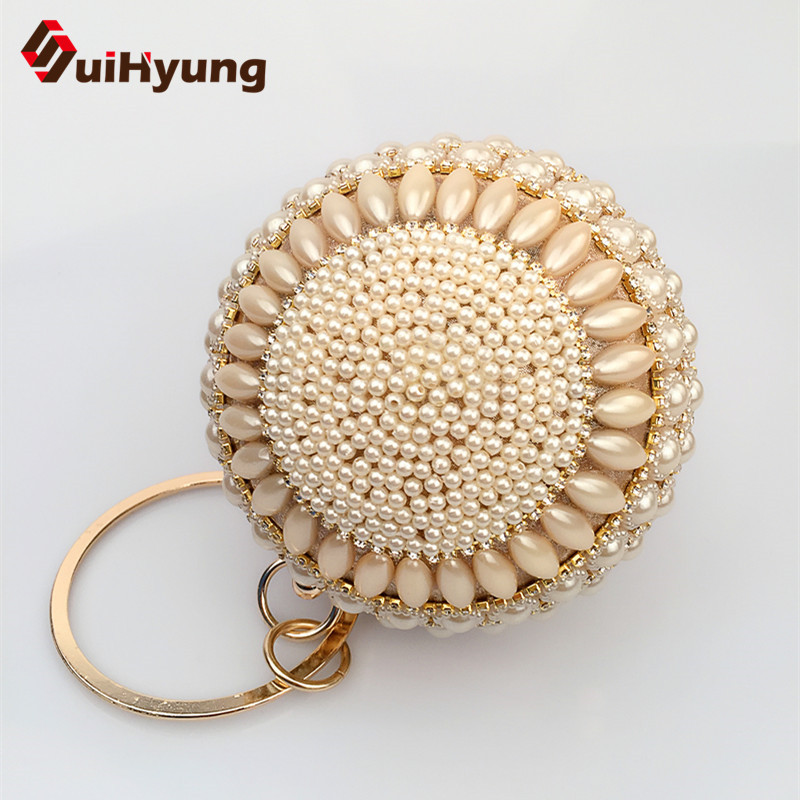 2016 New Noble Women s Pearls Handbags Small Tote Fashion Diamond Beaded Ball Clutch Bag Wedding