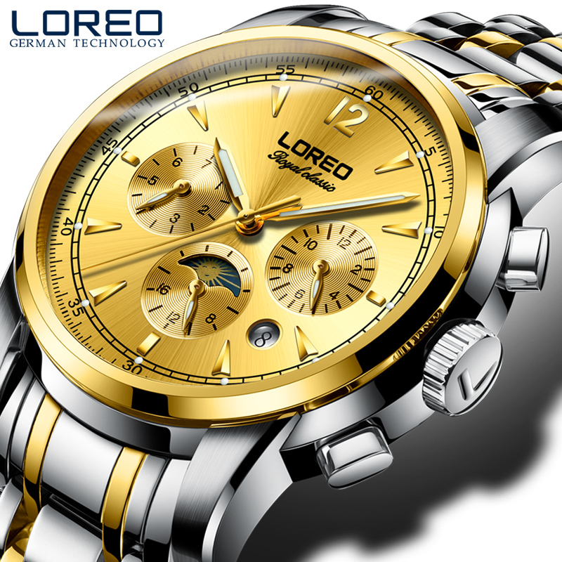LOREO men's automatic mechanical waterproof luminous complete calendar chronograph multifunction gold moon phase men watch genuine switzerland binger brand men automatic mechanical luminous calendar waterproof sports chronograph military gold watch