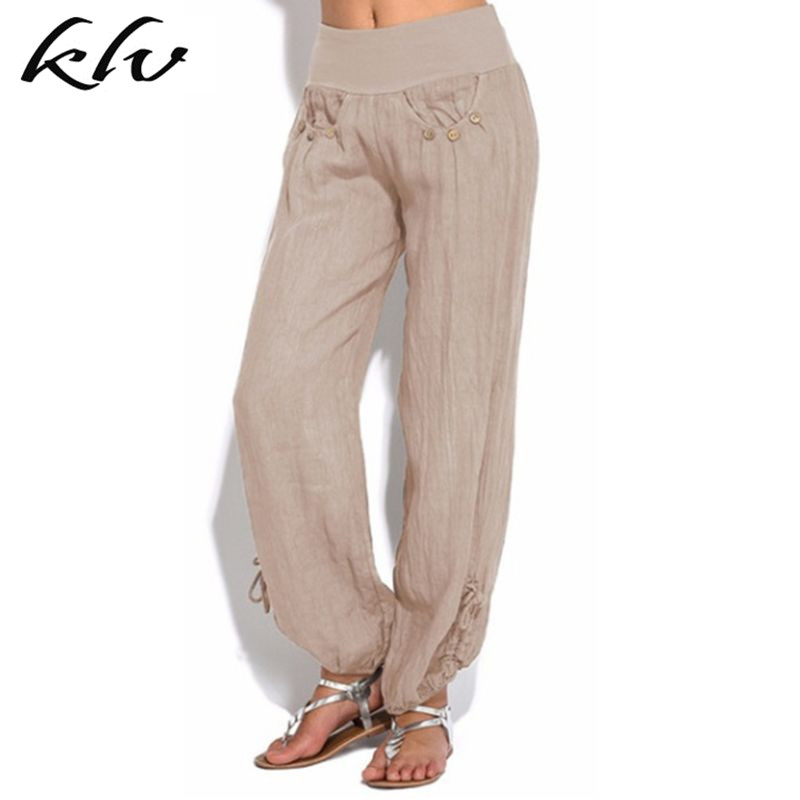 Women Casual Linen Harem Pants Loose Baggy Wide Leg Long Trousers Plus Size in Pants amp Capris from Women 39 s Clothing