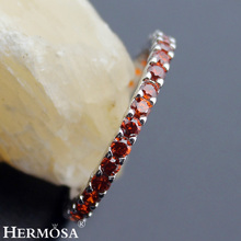 Big Promotion Wedding Round RED GARNET Party Rings For Women Hermosa New 925 Sterling Silver Birthstone Jewelry Ring Size 7# 8#