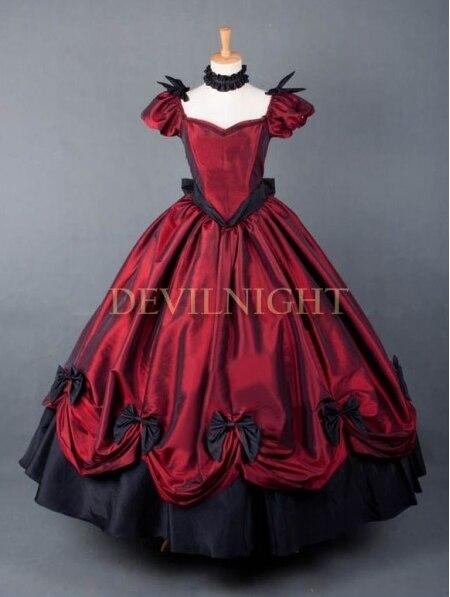 Красное платье принцессы готический, викторианской эпохи платье/Свадебное платье, одежда для вечеринок