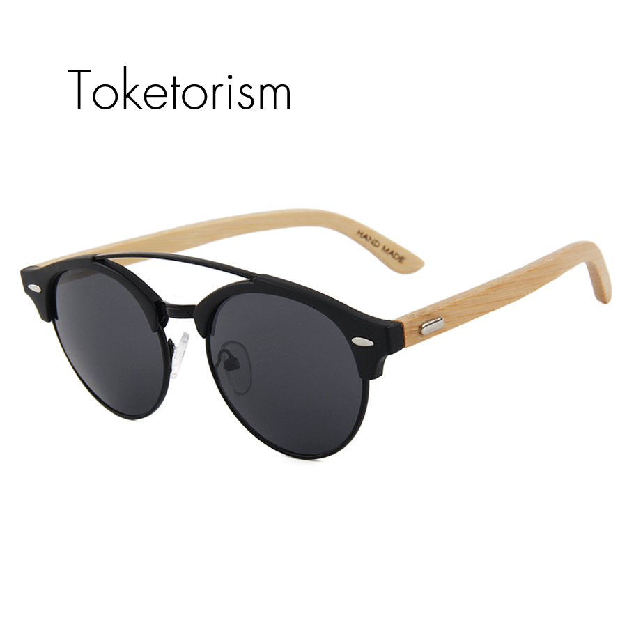 Toketorism men women sunglasses 2018 brand designer bamboo sunglasses round double bridge glasses 5401