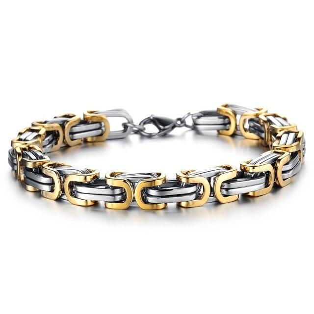 Gold Silver Byzantine Bracelet For Men 316l Stainless Steel 22cm 8mm Mens