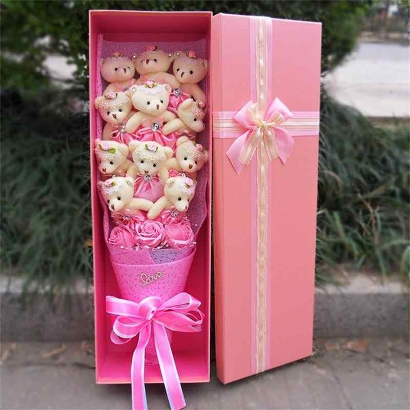 Best-seller brinquedos de pelúcia teddy bear com falso buquê de flores rosas moda dos desenhos animados caixa de presente de aniversário dia Dos Namorados presentes