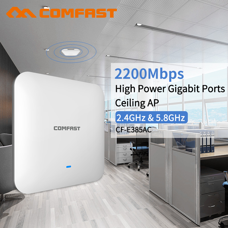 2200Mbps 2.4G/5.8G Dual Band 802.11AC Gigabit Indoor Ceiling Mount Access Point Wifi Repeater Router 48V POE AP 500MW Amplifer