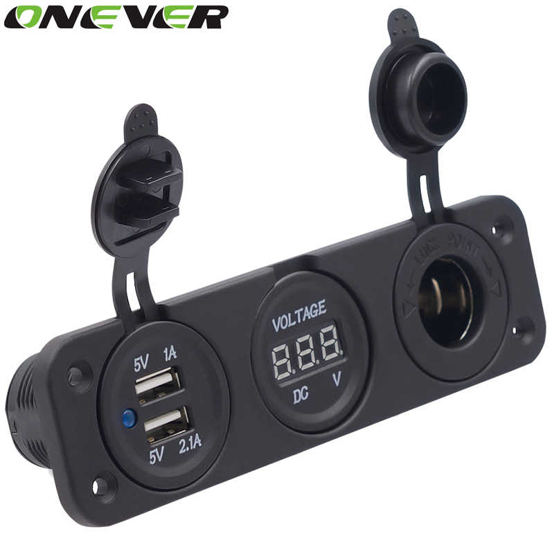 Onever 12V Dual USB Auto Car Cigarette Lighter Socket Splitter DC 5V 2.1A Power Adapter Charger for Digital Voltmeter Display