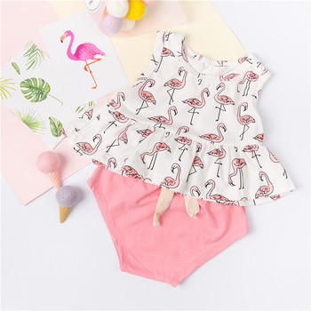 ZTKIDS Pink Flamingo Print Suits Sleeveless Lovely Toddler Girls Sets Beautiful Baby Summer Clothes Full Print Baby Tank+Shorts