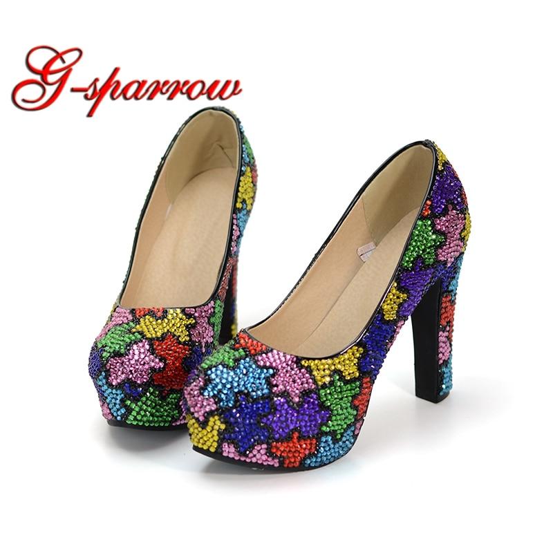 Delle Design Lussuoso Colore Party Geometria Spessore Wedding Heels Mix Strass Color Miscela Shoes Prom Cinderella Complicato Tacco Pompe 12cm Della Donne ZwnqdwF