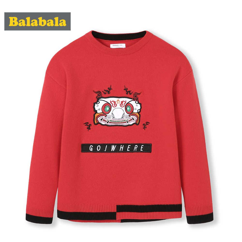 Balabala 키즈 보이 구정 수 놓은 괜 찮 아 요 니트 스웨터 스웨터에 당겨 어린이 유아 소년 아늑한 점퍼 겨울 옷