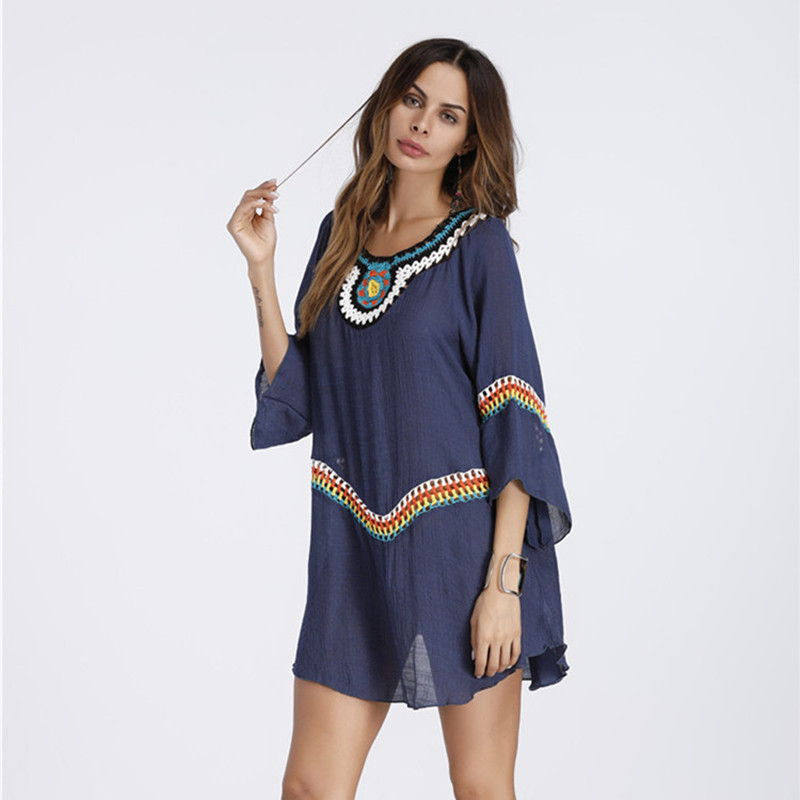 2018 Summer Large Size Bohemian Women Tops Flare Sleeve Long Shirt  O-neck  Beachwear