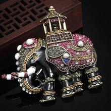Tamaño grande de Tailandia Elefante de La Perla Broche Para Las Mujeres Marca Esmalte Collares Rhinestone Crystal Accesorios Hijab Broches Ouro