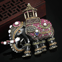 Blucome Big Size Thailand Elephant Pearl Brooch For Men Jewelry Party Gifts Brand Enamel Brooches Bijuteriras Hijab Accessories