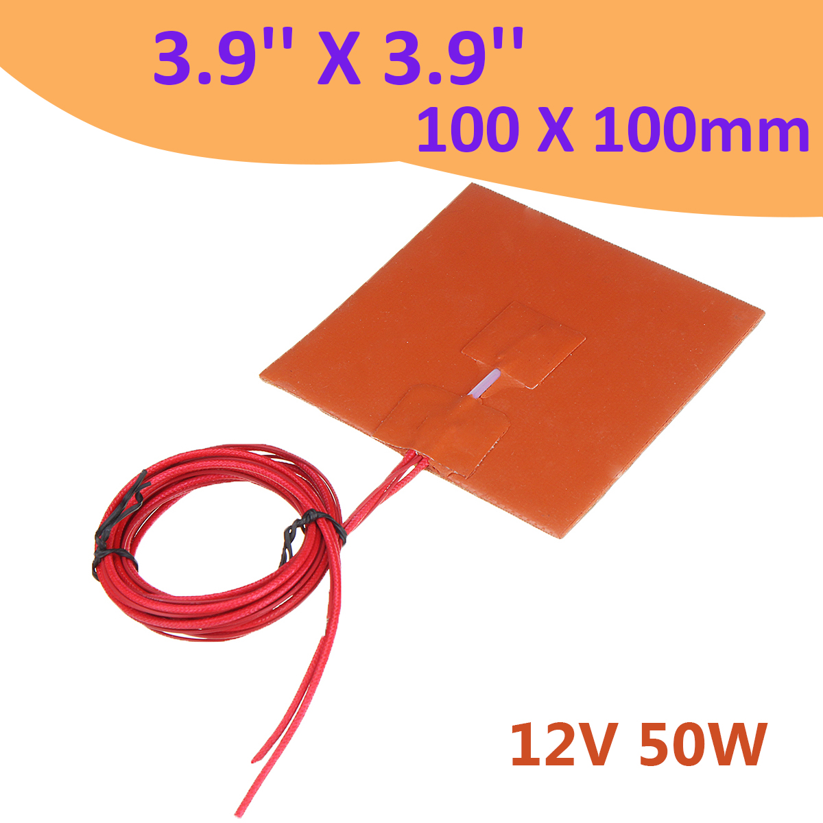 100x100mm 12V 50W Silicone Heater Bed Pad w Thermistor for 3D Printer Heat Bed Electric Pads Silica Gel Orange100x100mm 12V 50W Silicone Heater Bed Pad w Thermistor for 3D Printer Heat Bed Electric Pads Silica Gel Orange