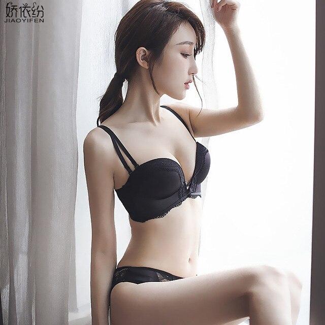 Jyf Brand Fashion Sexy Girl Bra Set Seamless Solid Push Up Women Underwear Set Adjusted Lace Lingerie Wire Free Bra Brief Sets