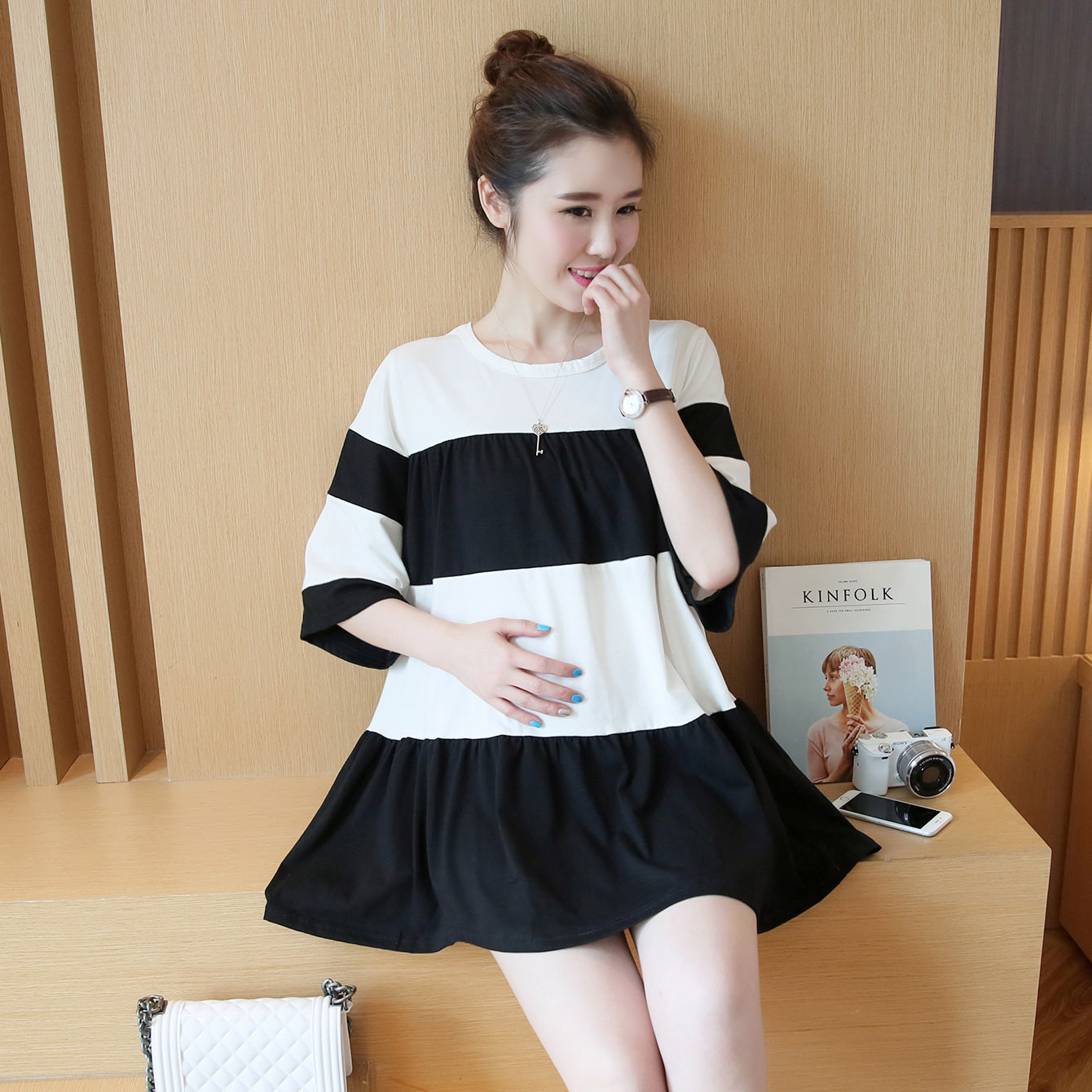 2015 new summer maternity dresses knitted stripe A line dresses pregnancy dresses maternity clothing summer cloting 16445