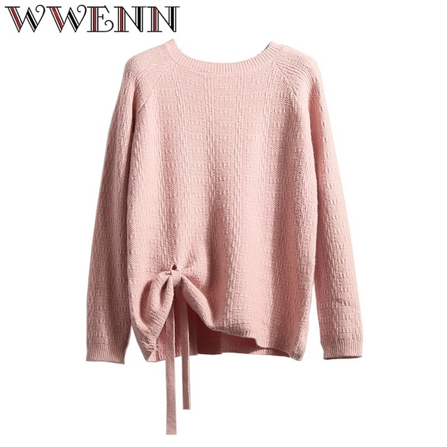 WWENN Autumn winter white halter knitted sweater pink sexy pullover women  tops Lace Up O-neck long sleeve chic jumper pull femme 05aa6e15d
