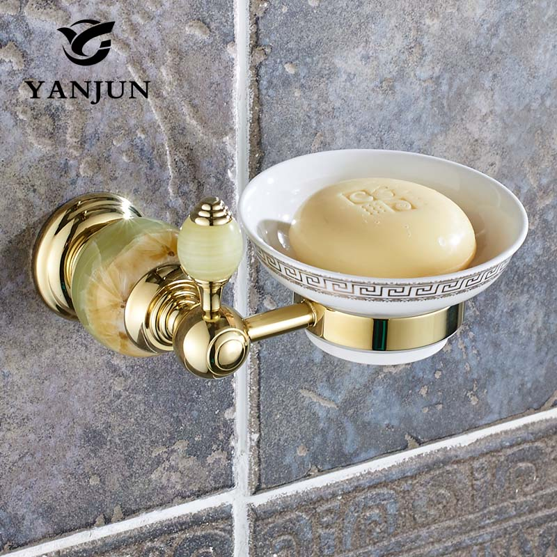 YANJUN Jade Stone Solid Brass Polished Golden Finish Soap Dish Soap Box Bathroom Accessories Soap Holder Wall Mounted YJ-8154 european style brass antique bronze solid brass bathroom soap holder soap basket bathroom accessories soap dish bathroom shelf