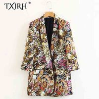 TXJRH Vintage Ethnic Colorful Tropical Bloom Floral Plant Notched Collar Blazers Long Sleeve Outwear Fashion Women