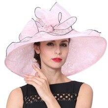 Envío de Las Mujeres de Sombreros de Verano de Joven junio Material de Encaje de Organza Elegante de Señora Fashion Wedding Party Dress Wear Señora sombreros de Ala
