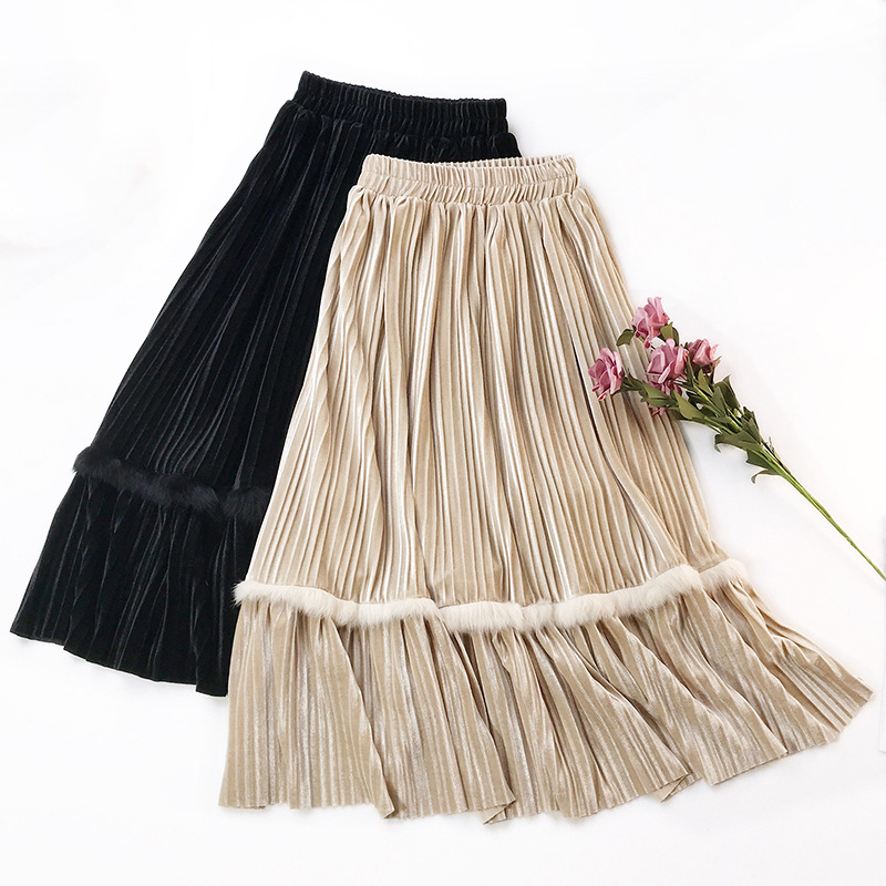 e8b2585e3 Women Velvet skirt Rabbit Hair patchwork Pleated Skirt High Waist Saias  Party Skirt Long Faldas Mujer plus size warm Jupe Femme