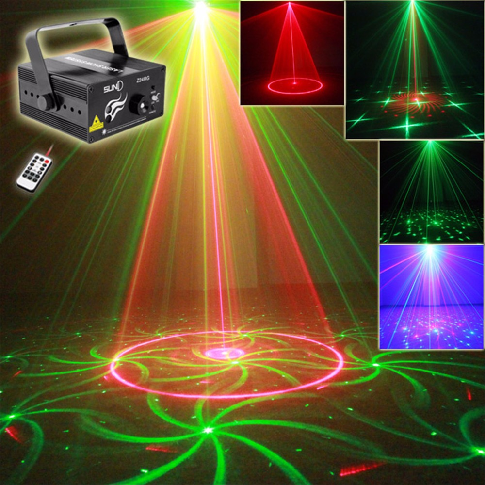 AUCD Mini Remote 24 Patterns RG Red Green Laser Effect Projector 3W Blue LED Light DJ Home Party Wedding Stage Lighting Z24RG professional 3 lens 36 patterns stage lights rg blue led stage laser lighting dj party disco light effect projector lighting