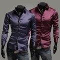 2016 Limitada Completa Sólidos Chemise Homme Camisa Camisas Dos Homens Novos de Outono Desgaste de Seda Brilhante Camisa de Moda Casual Fino Longo mangas compridas