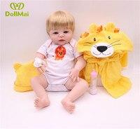 22inch 55cm Full silicone reborn baby boy girl dolls with cartoon Yellow Lion Bathrobe bebe bonecas reborn child gift doll toy
