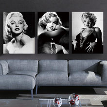 Canvas Painting Poster Monroe home decoration combinative 3 panel modern sexy Marilyn picture on wall printed painting no frame(China)