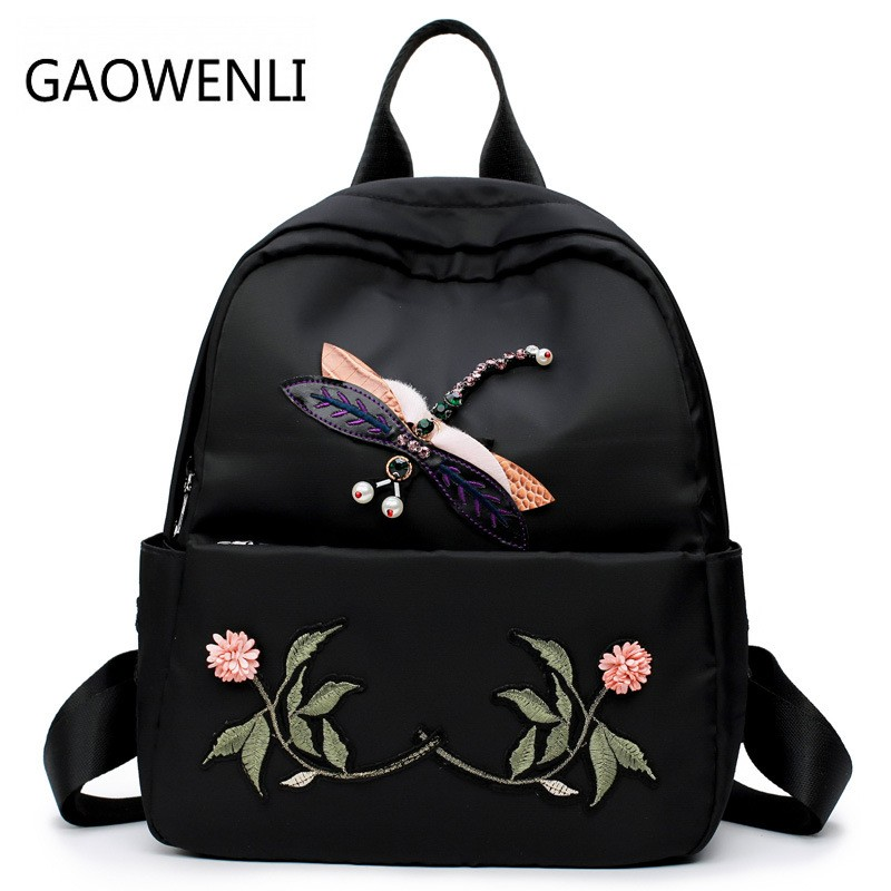 GAOWENLI Fashionable Embroidery Dragonfly National Wind designer bags for Women 2017 Backpack for Teenage Girls Mochila