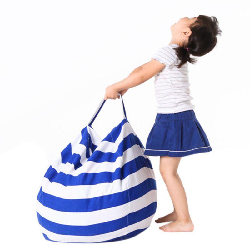 Plush Toy Storage Bean Bag Portable Stuffed Animal Storage Bag Multifunctional Kids Toys Bag Clothes Blanket Organizer