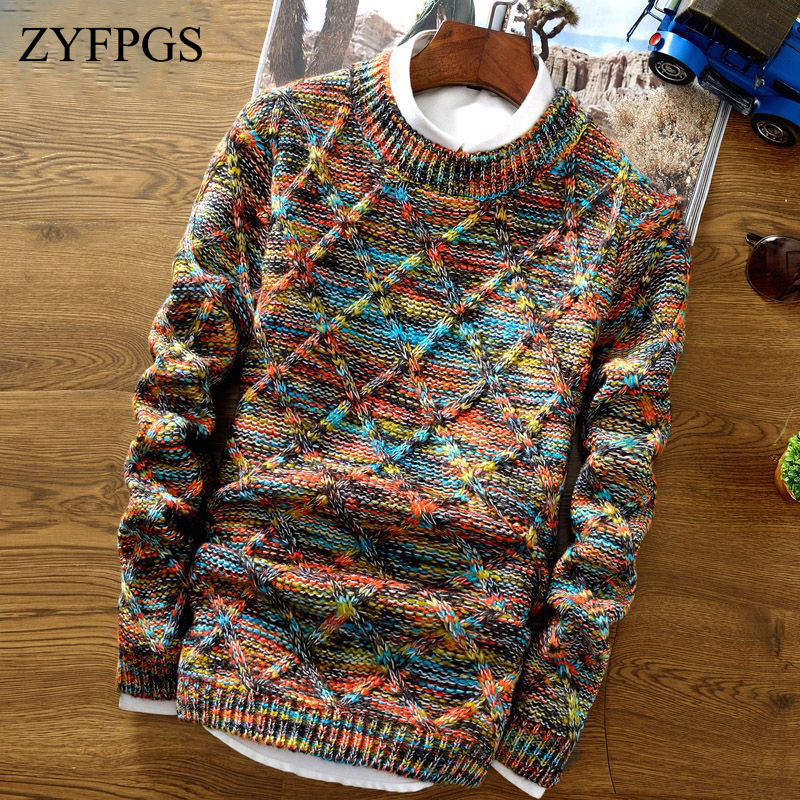 ZYFPGS New Autumn/winter Sweater Men Slim-fit O-Neck Sweater Stitching Stripe Knitwear Male Casual Pullover Sweaters Clothes 825
