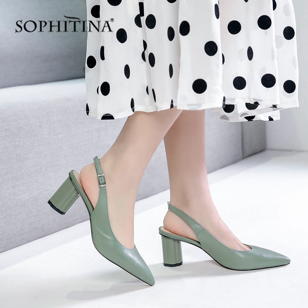 SOPHITINA Genuine Leather Pumps Spring Green Pointed Toe Handmade Round Heels Shoes Woman High Quality Party