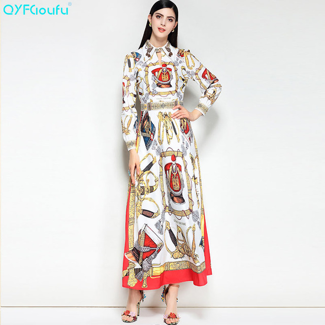 QYFCIOUFU 2018 Summer Vintage Maxi Dresses Women Long Sleeve High Quality  Fashion Designer Runway Palazzo Print Party Dress Long cac16effecab