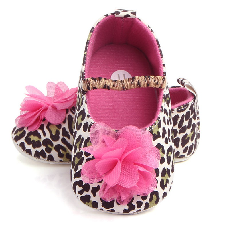 Elastic Band Leopard Baby Shoes For Girls Spring Autumn Toddler Soft Sole Newborn Flower Sneakers Shoes