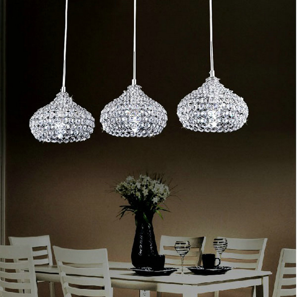 MAMEI Free Shipping Modern Dinner Room Crystal Pendant Lamp 3 Light Kitchen Island FixturesChina