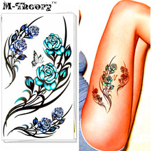 M-Theory Sexy Rose Body Makeup Temporary 3d Tattoos Sticker Henna Flash Tatoos Body Arts Tatto Swimsuit Makeup Tools