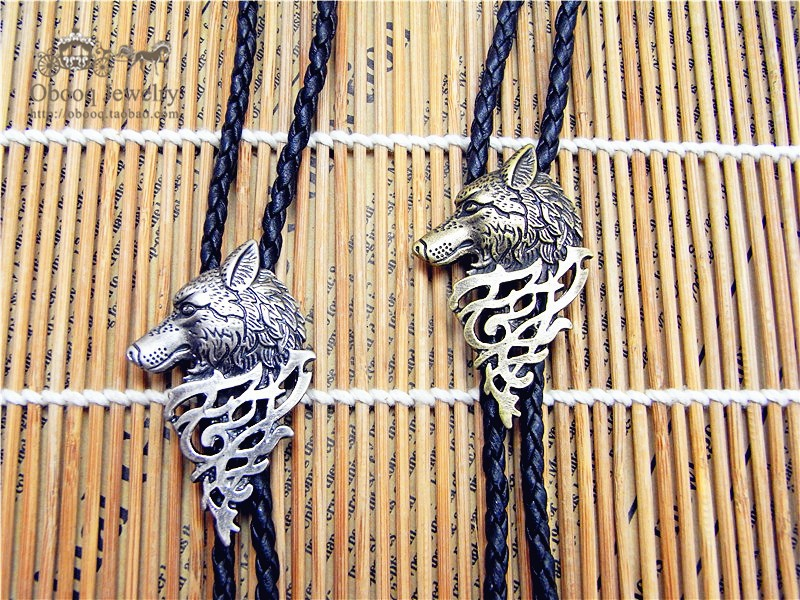 Bolo Tie  Retro Shirt Chain Wolf Badge Poirot Led Rope Leather Necklace Long Tie Hang
