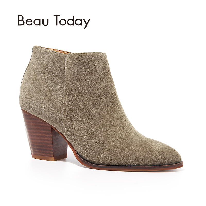 BeauToday Ankle Boots Women Top Quality Brand Genuine Leather Cow Suede Pointed Toe Zipper High Heel Shoes Handmade 03314 подвесная люстра st luce buld sl299 553 03