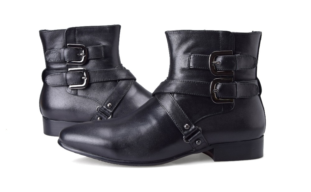 7519ef6338 Double buckle pointed toe black boots mens ankle boots genuine leather  motorcycle shoes mens casual boots-in Motorcycle boots from Shoes on ...
