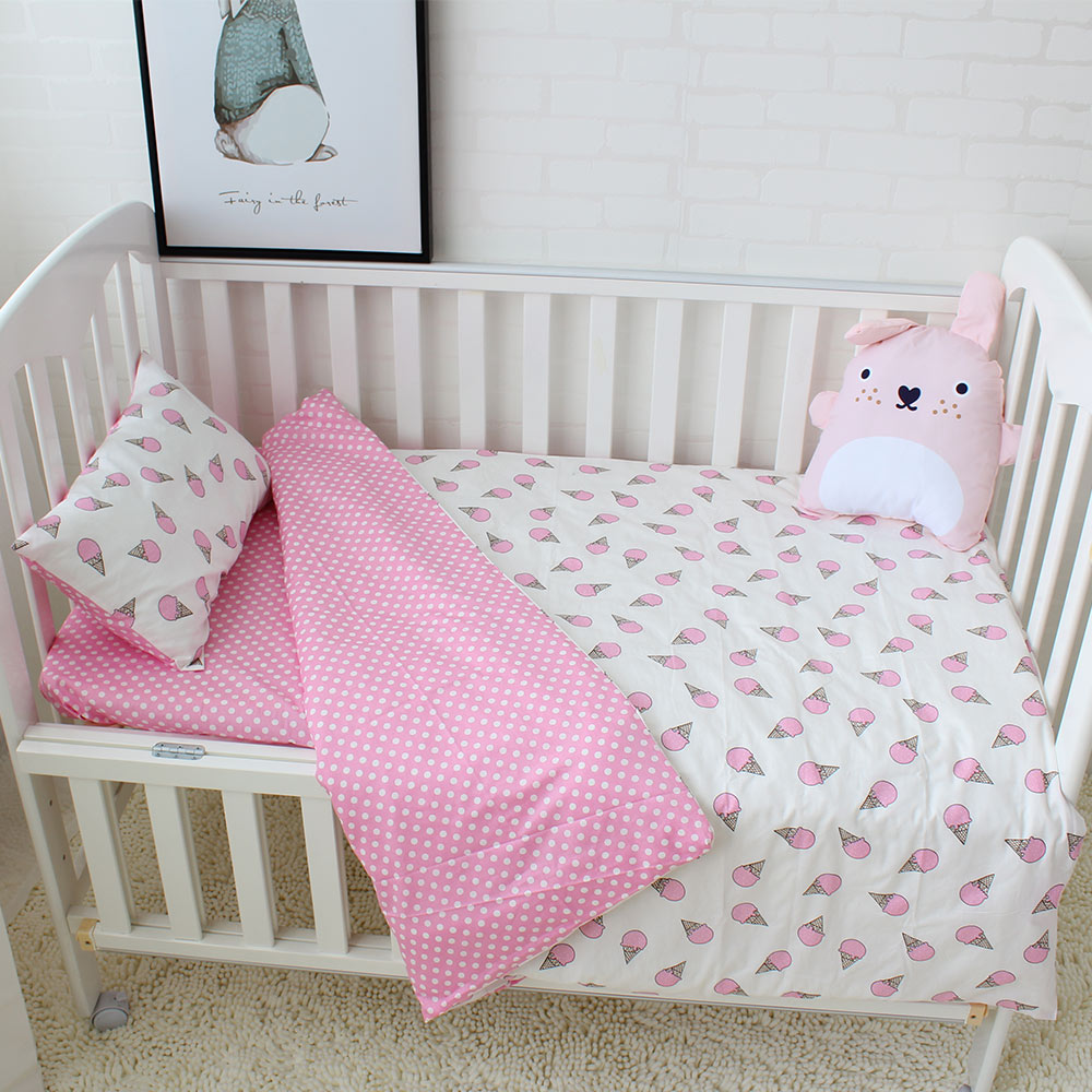 3pcs Baby Bedding Set Cotton Soft Breathable Crib Bedding