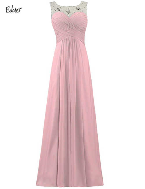 f35083b6d8 Elegant Bridesmaid Dresses 2018 A Line Scoop Cap Sleeve Crystal Lace Up  Pink Purple Mint Green Chiffon Long Wedding Party Dress