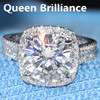 Luxury 5 Carat Ct FGH Color Lab Grown Moissanite Diamond Engagement Ring With Real Diamond Accents