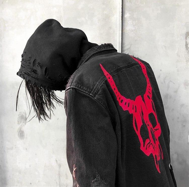 Image 2 - Harajuku Gothic Demon Hunter Skull black denim jacket men Rock  punk heavy metal Sweatshirt sudadera suspenders hole streetwearJackets