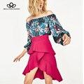 Bella philosophy2017 primavera y el verano nueva moda floral impreso sin tirantes floja azul monos SL