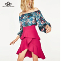 Bella philosophy2017 spring and summer new fashion floral printed strapless loose  blue bodysuits S-L